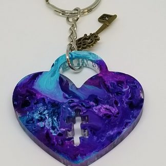 Alcohol Ink Heart Pendant color Blue