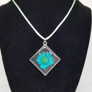 Blue Flower Design in a Pendant Necklace