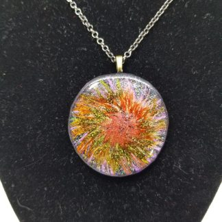 Flower Image Printed Circle Necklace